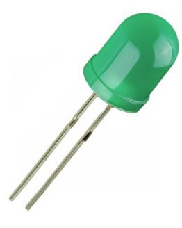 Светодиод, LED диод 10мм MLL-100631, GaP 565nm 30mcd, ЗЕЛЕН дифузен