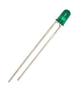 Светодиод, LED диод 3мм HT-204GD, 572-574nm 80mcd 25deg, ЗЕЛЕН дифузен