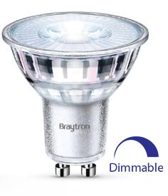 LED лампа BA27-60650 5.5W, GU10, 220VAC, 360lm, 2700K, топлобяла, стъкло, димируема