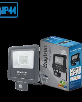 LED прожектор със сензор 30W BT61-23002, 220VAC, 2400lm, 3000K, топлобял, IP44, влагозащитен, SLIM