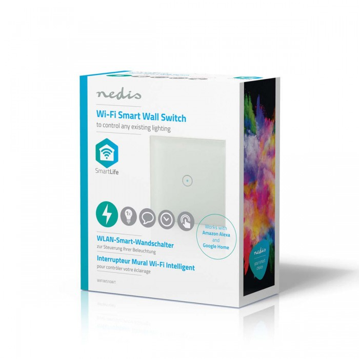 Wi-Fi Smart WIFIWS10WT единичен ключ сх.1, 2A/230VAC бял