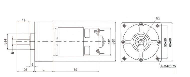 Електродвигател с редуктор VFGA60FM-22i 12VDC