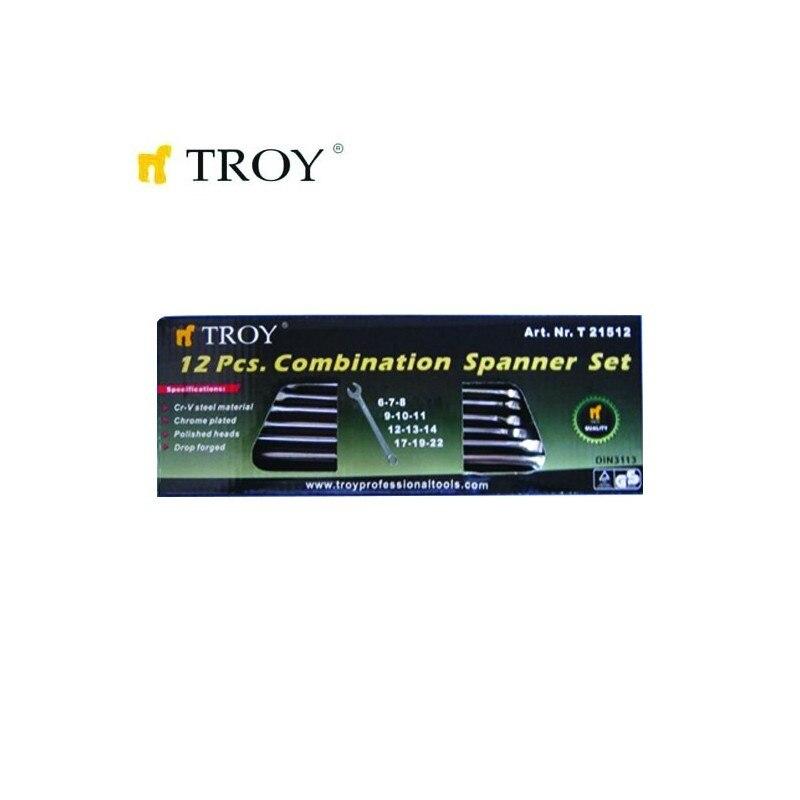 Комплект звездогаечни ключове TROY 21512 6-22мм